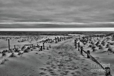 Photograph - Beach Entry In Black And White by Paul Ward