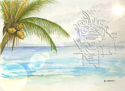 Art Print featuring the digital art Beach Etching by Darren Cannell