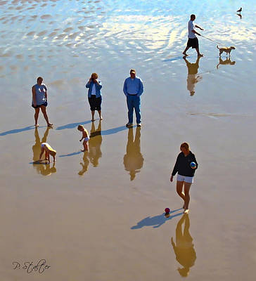 Dog Walking Digital Art - Beach Family by Patricia Stalter
