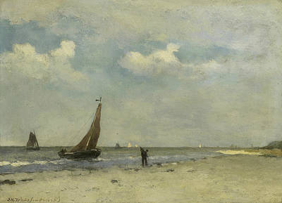 Sand Fences Painting - Beach Face by Jan Hendrik Weissenbruch