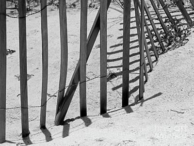 Photograph - Beach Fence Shadows Black And White by Karen Adams