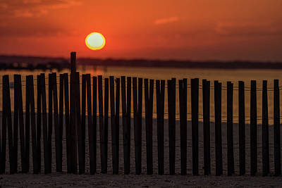 Photograph - Beach Fence Sunset Lavallette New Jersey by Terry DeLuco