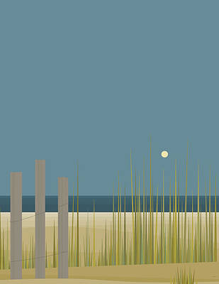 Abstract Beach Landscape Digital Art - Beach Fence by Val Arie