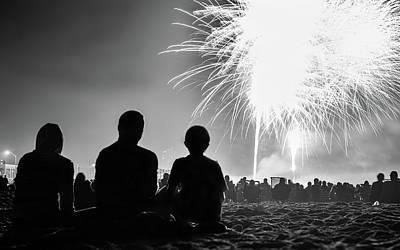 Photograph - Beach Fireworks by Paul Seymour