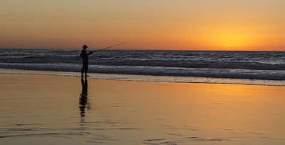 Photograph - Beach Fishing At Sunset by Ed Clark