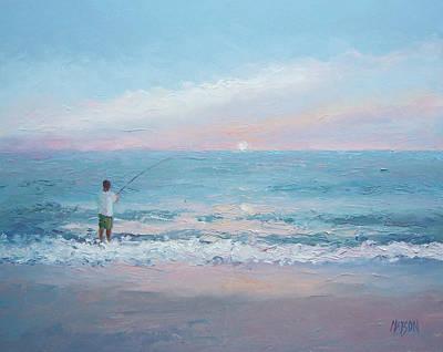 Sunrise Painting - Beach Fishing by Jan Matson
