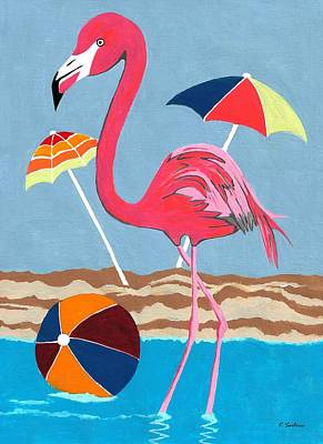 Painting - Beach Flamingo by Kathleen Sartoris