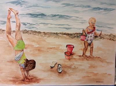 Painting -  Beach Fun. 1 by Ellen Canfield