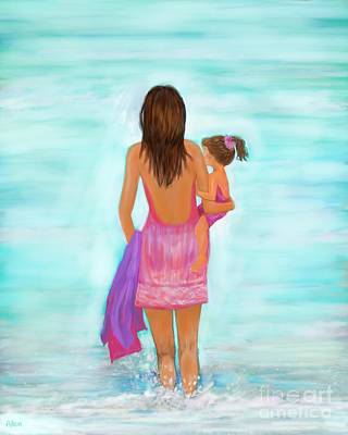 Painting - Beach Fun Day by Leslie Allen