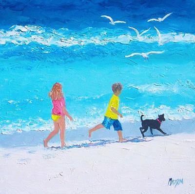 Children And Dog Painting - Beach Fun by Jan Matson