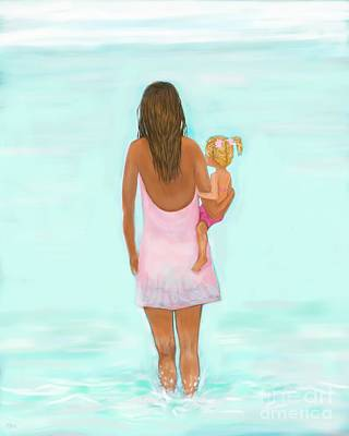 Painting - Beach Fun With Mommy by Leslie Allen