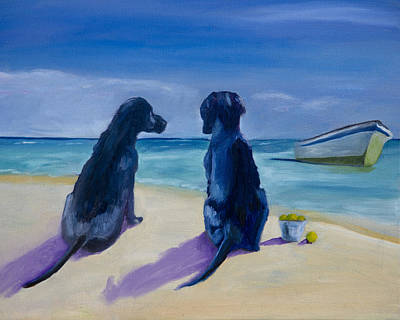 Beach Girls Art Print by Roger Wedegis