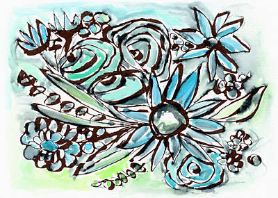 Large Flower Painting - Beach Glass Flowers 1- Art By Linda Woods by Linda Woods
