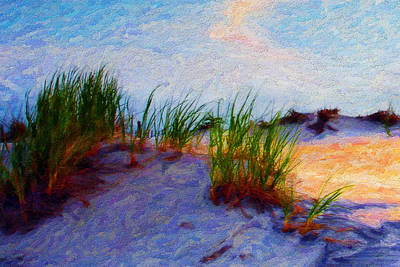 Digital Art - Beach Grass by Chuck Mountain