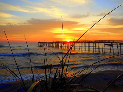 Photograph - Beach Grass Pier Sunrise 3 121315 by Mark Lemmon