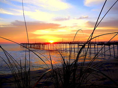 Photograph - Beach Grass Pier Sunrise 4 121315 by Mark Lemmon