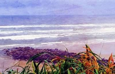 Season Digital Art - Beach Grass Rocks Sand And Ocean by Katrina Britt