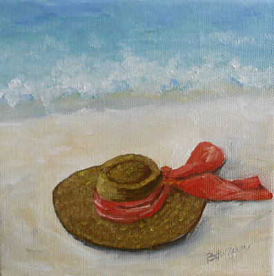 Beach Hat In The Sand Art Print by Barbara Harper