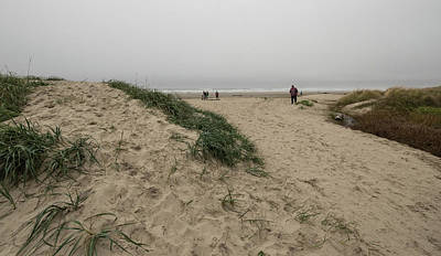 Photograph - Beach Hiker On A Foggy Day by Tom Cochran