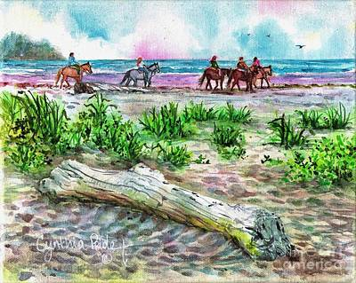 Beach Horseback Riding Art Print by Cynthia Pride
