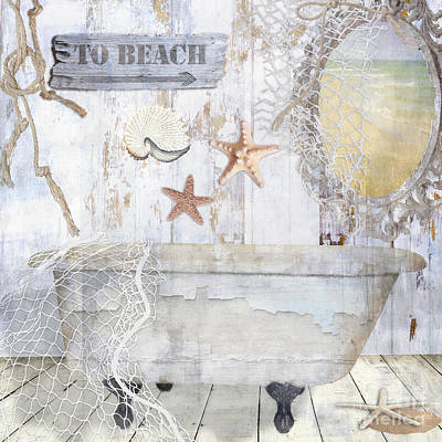 Beach Shell Sand Sea Ocean Painting - Beach House Bath by Mindy Sommers