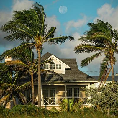 Photograph - Beach House Moon At Sunrise Delray Beach Florida by Lawrence S Richardson Jr