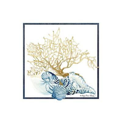 Beach House Nautilus Scallop N Conch With Tan Fan Coral Art Print by Audrey Jeanne Roberts