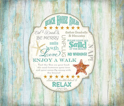 Word Art Painting - Beach House Rules - Refreshing Shore Typography by Audrey Jeanne Roberts