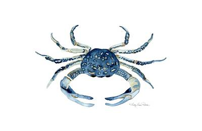 Beach House Sea Life Blue Crab Print by Audrey Jeanne Roberts