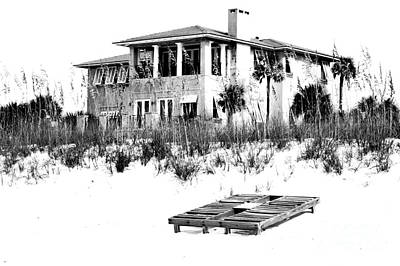 Photograph - Beach House Vacation Home Above Sand Dunes Destin Florida Black And White Digital Art by Shawn O'Brien