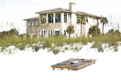 Photograph - Beach House Vacation Home Above Sand Dunes Destin Florida Diffuse Glow Digital Art by Shawn O'Brien