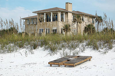 Photograph - Beach House Vacation Home Above Sand Dunes Destin Florida Poster Edges Digital Art by Shawn O'Brien