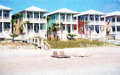 Photograph - Beach Houses Along A Florida White Sandy Beach by Vizual Studio