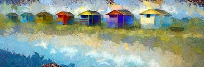 Abstract Beach Landscape Digital Art - Beach Houses I by Ronald Bolokofsky