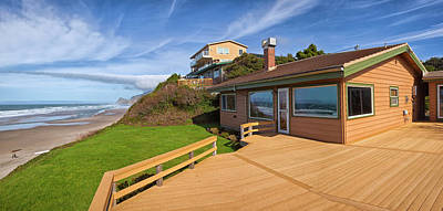 Beach Houses Panorama Lincoln City. Art Print by Gino Rigucci