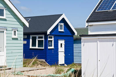 Photograph - Beach Hut Dark Blue by Mick House