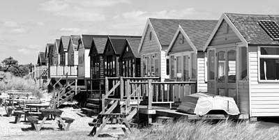 Photograph - Beach Hut Row Black And White by Mick House