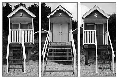 Beach Hut Triptych Art Print