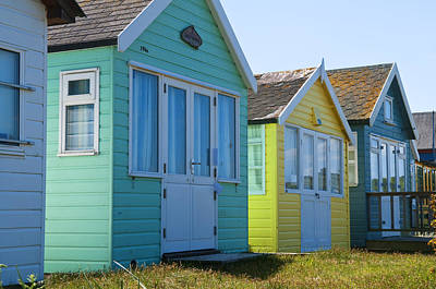Photograph - Beach Huts Green And Yellow by Mick House