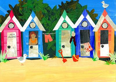 Mixed Media - Beach Huts by Judy Adamson