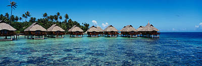 Boras Photograph - Beach Huts On Water, Bora Bora, French by Panoramic Images