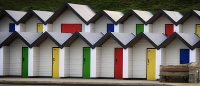 Photograph - Beach Huts With Bench by Shirley Mitchell