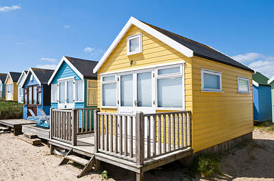 Photograph - Beach Huts Yellow And Blue by Mick House