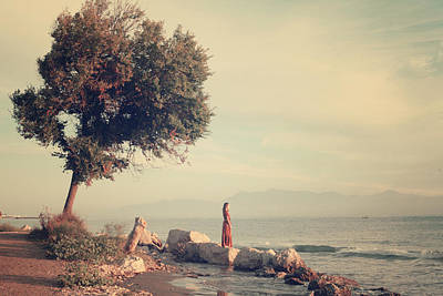 Waiting Girl Photograph - Beach In Roda - Greece by Cambion Art