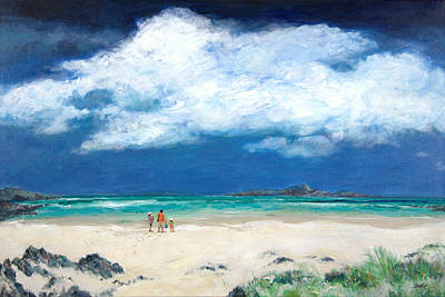 On The Beach Painting - Beach In Scotland by Sandra Delaney