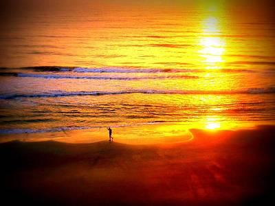 Walker Digital Art Photograph - Beach Walker Sunrise Florida by Victoria Beasley