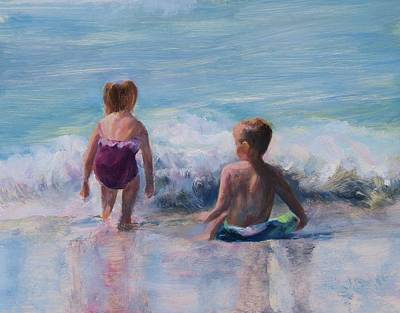 Kids Playing In Sand Painting - Beach Kids by Laurie VanBalen