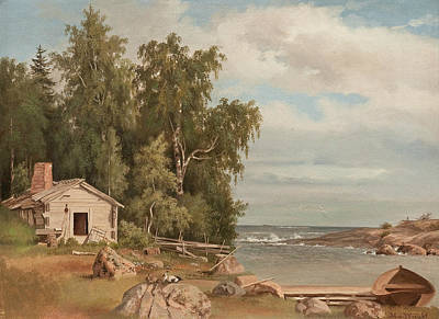 Beach Cabin Painting - Beach Landscape From Lovo by Magnus von Wright
