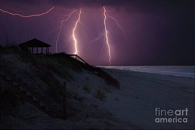 Beach Lighting Storm Art Print by Randy Steele
