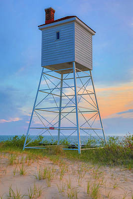 Photograph - Beach Lookout Tower At Sunset by Dan Sproul